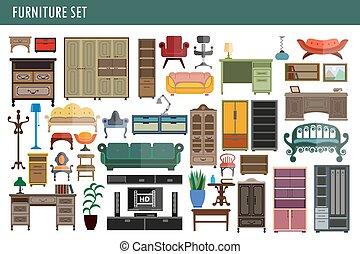椅子, キャビネット, オフィスアイコン, 家, ベクトル, 机, 内部, テーブル, 家具