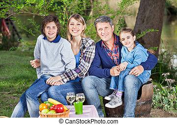 椅子, キャンプ場, 家族, モデル