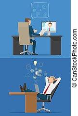 椅子, コンピュータ, ビジネスマン, 2, モデル