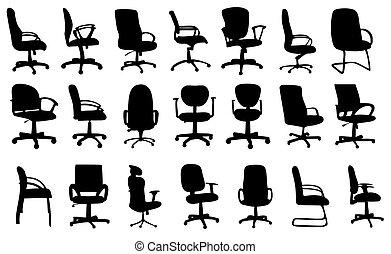 椅子, シルエット, ベクトル, オフィス, イラスト