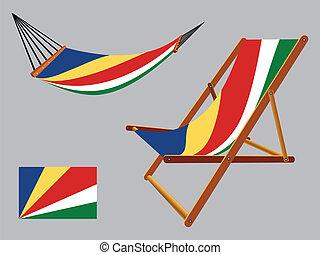 椅子, セイシェル, セット, ハンモック, デッキ