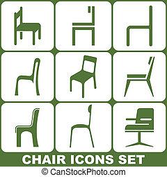 椅子, セット, アイコン