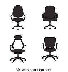 椅子, セット, オフィスアイコン