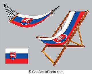 椅子, セット, スロバキア, ハンモック, デッキ