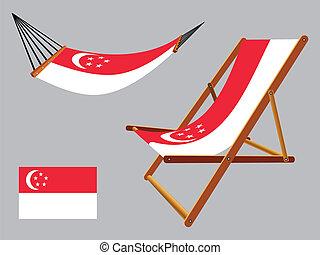 椅子, セット, ハンモック, シンガポール, デッキ