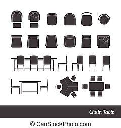 椅子, テーブル, アイコン