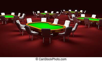 椅子, テーブル, ポーカー, 内部, 部屋