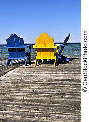 椅子, ドック, 湖, 木製である