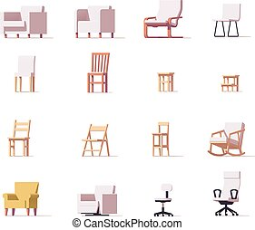 椅子, ベクトル, セット