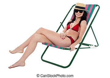 椅子, モデル, よりかかる, 魅力的, ビキニ, 弛緩