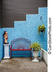 椅子, ラウンジ, 庭, 壁