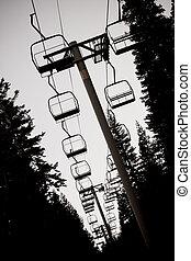 椅子, リフト, スキー