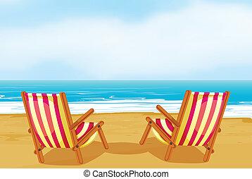 椅子, 上に, 浜