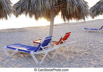 椅子, 上に, 熱帯 浜
