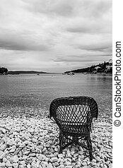 椅子, 上に, a, 浜, カバーされた, ∥で∥, 小石