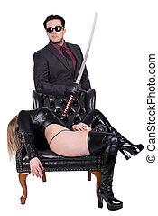 椅子, 下方に, あること, キラー, 女, 危ない, katana