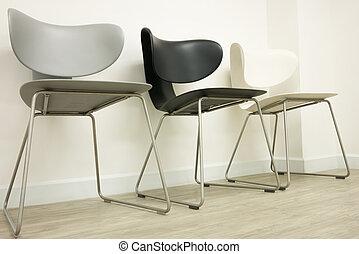 椅子, 中に, 待っている 部屋