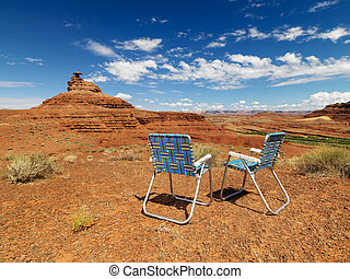 椅子, 中に, desert.