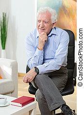 椅子, 人, 年配, モデル