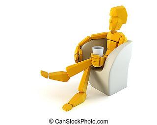 椅子, 人, 象徴的, 容易である, リラックスしなさい