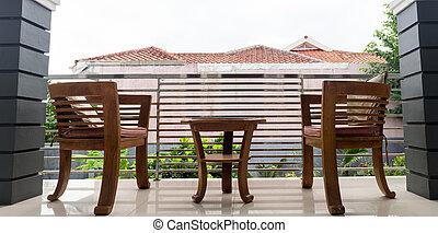 椅子, 以及, 桌子, 上, 房子, 院子
