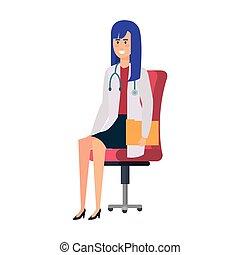 椅子, 医者, 女性, オフィス, モデル