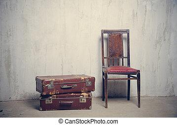 椅子, 古い, 2, スーツケース