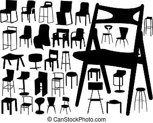 椅子, 大きい, ベクトル, コレクション