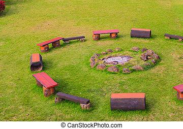椅子, 大約, 篝火, 露營