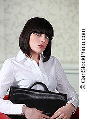 椅子, 女, ブリーフケース, モデル
