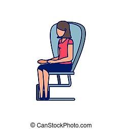 椅子, 女, 若い, オフィス