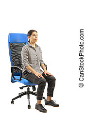 椅子, 女, exercises., オフィス, モデル
