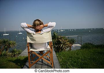 椅子, 女, waterfont, モデル