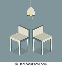 椅子, 平ら, design.