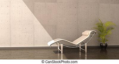 椅子, 放松, 真皮, 花, 白色