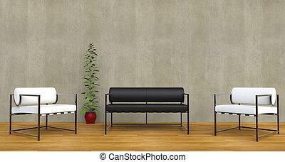 椅子, 暮らし, 白, 黒, 部屋