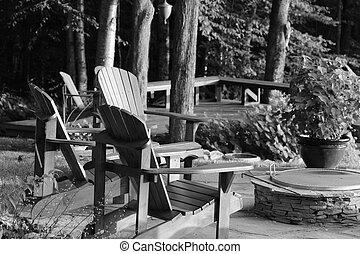 椅子, 森, adirondack, 海原
