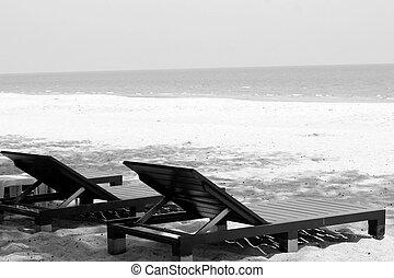 椅子, 浜。, よりかかる, 海