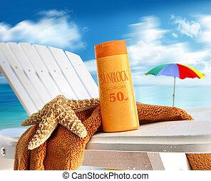 椅子, 浜, ローションを 日焼けしなさい