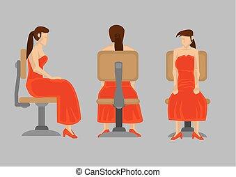 椅子, 漫画, 服, ベクトル, 赤, 女性, 旋回装置, イラスト