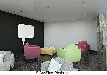 椅子, 現代, 窓, チャット, 内部, 空