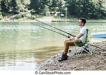 椅子, 男性, 棒, 釣り, モデル