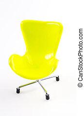 椅子, 白, 緑, 隔離された, 背景