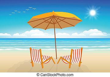 椅子, 砂, sea., 傘