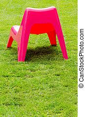 椅子, 草, 緑の赤, プラスチック