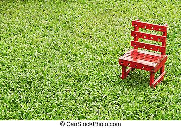 椅子, 草, 緑の赤, 手ざわり