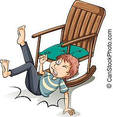 椅子, 落ちた, 離れて, 人