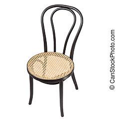 椅子, 葡萄收获期, 黑色, 白色, 隔离, 背景。, 木制
