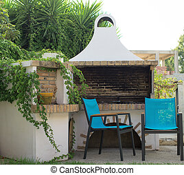 椅子, backyard., 屋外, 暖炉