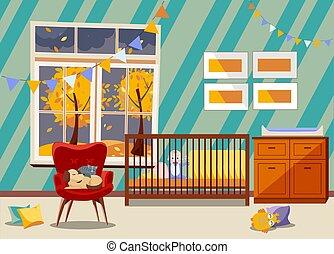 椅子, furniture., 睡眠, 部屋, 子供, 内部, childrens, ベッド, 容易である, 新生, 男の子, 寝室, 明るい, 肘掛け椅子, 旗, おもちゃ, 託児所, 秋, 平ら, 風景, 犬, ねこ, 窓, 花輪